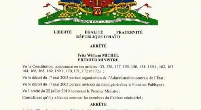 Haïti : un cabinet ministériel tout en neuf