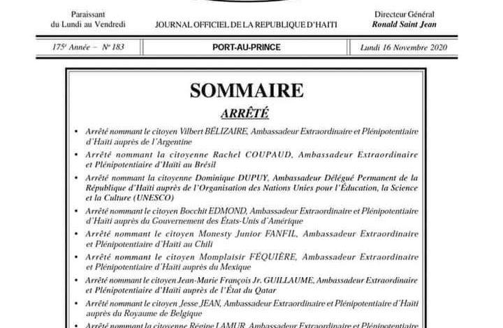 Jovenel Moise nomme de nouveaux ambassadeurs à la chancellerie haïtienne