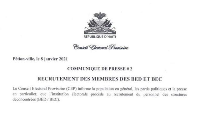 Le Conseil Electoral Provisoire lance le processus de recrutement pour les membres des BED et des BEC