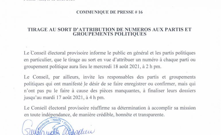 Élections : le CEP rend publique la date fixée pour le tirage au sort devant attribuer un numéro à chaque parti politique